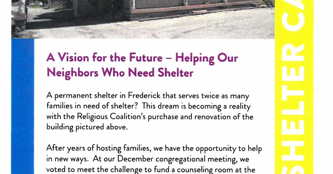 ERUCC Pledges $25,000 to the Religious Coalition for Family Shelter Counseling Room